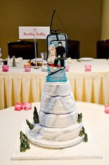 wedding cake (Ayoma Cake Masterpieces) Tags: ski groom bride rice weddingcake skilift fondant evergreentrees skimountain krispies bridalcouple tieredcakes