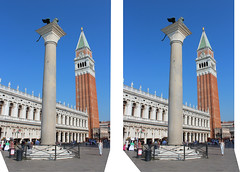 St. Mark Square and St Mark's Campanile  in 3D (rgb48) Tags: venice italy 3d europe campanile stereo stmarks wingedlion crosseyedstereo stereographics
