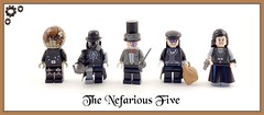 Age of Steam - The Nefarious Five (Hammerstein NWC) Tags: hat globe lego steam adventure story sabre fantasy saber fencing minifig sack custom bowler christo steampunk minifigure minifigures stovepipehat rx100 brickarms brickforge bricktw brickwarriors dscrx100
