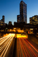 2/52 - Evening Traffic (Meghan (Rambling On. . . )) Tags: seattle city longexposure nightphotography urban night canon project lights evening downtown traffic i5 tripod overpass freeway lighttrails weeks 52 60d 52weeksofphotography