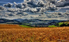 harvest time - Nuttlar Aug 2012 (Dominik Hartmann) Tags: blue summer sky orange beautiful field clouds germany landscape deutschland time harvest feld himmel wolken august nrw landschaft hdr sauerland bestwig nuttlar dominikhartmann