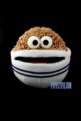 Cereal Puppet (staceyrebecca) Tags: blue food white breakfast mouth pie moving eyes order hand puppet cereal stripe bowl custom talking googly builder anthropomorphism puppetry anthropomorphic puppeteer puppetpie cerealpuppet puppetpiecom