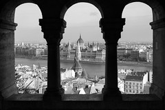Hungarian House of Parliament - B/W (npmeijer) Tags: bw white house black castle hungary hill budapest parliament fishermans pillars bastion danube hungarian