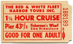 1940s San Francisco Red & White Fleet Adult Ticket (Jafafa Hots) Tags: sanfrancisco cruise paper harbor boat publictransportation sightseeing ticket ephemera 1940s maritime sanfranciscobayarea bayarea fishermanswharf publictransport naval tours stub cruiselines jafafahots