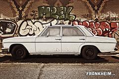 027 White Car (Frank Heim) Tags: auto street white art car mercedes benz kunst strasse graphity strassen