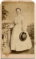 Young Woman Holding Straw Hat (Piedmont Fossil) Tags: backdrop cdv cartedevisite antiquephoto
