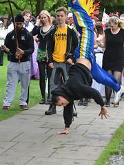 Acrobats at York Minster Gardens (Steve Barowik) Tags: york carnival music colour fun costume nikon display drum yorkshire feathers band celebration procession jolly minster celebrate nikon70200mmvr d7000 barowik stevebarowik sbofls26