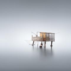 El Patito (Rohan Reilly Photography) Tags: venice venezia veneto italy italia fishing hut shack landscape lagoon fog nebbia long exposure minimal minimalism