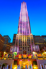 Rockefeller Illuminations (duncan_mclean) Tags: lights longexposure illuminated building centre fountain tower newyorkcity skyscaper architecture rockefeller nightphotography evening night nyc