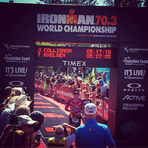 Crossing the line, job done. So proud of @julie_clg #ironwoman #ironman703worldchampionship