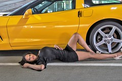 HI0A9086 (fotodan57) Tags: canon cute car chevy awesome skinny dress beautiful brunette browneyes young yellow sexy llens legs long nice southernbeauty vet posing people portrait pose pinup girl greatbody garageshoot friend sweet smile transportion teaser wild 24105mm