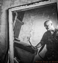 Mirror, Mirror (egbphoto) Tags: selfie portrait reflection blackandwhite male photographer gay gayguy pentaxk1 urbex abandoned