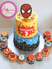 Buttercream spiderman cake with cupcakes (The Cupcake Factory Barbados) Tags: buttercream cake two tiered spiderman