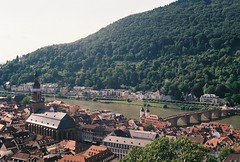(Tori Taylor) Tags: heidelberg germany deutschland europe europa canon t50 film colour blurry mountain vines green river bridge 35mm church old town view above