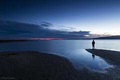 Blue Silence. (dasanes77) Tags: canoneos6d canonef1635mmf4lisusm tripod landscape seascape cloudscape clouds sky bluehour blue sea bay beach sand sunset orange sun calm silence selfportrait tarragona santcarlesdelaràpita delta