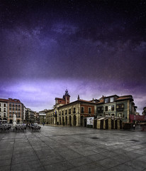 Watercolours of Aviles and the milky way (Renato Di Prinzio Fotografa) Tags: sky city sunset street travel night europe old urban architecture cityscape way building square stars espaa spain milky urbano estrellas plaza callejero paisaje ciudad atardecer asturias noche via lactea aviles