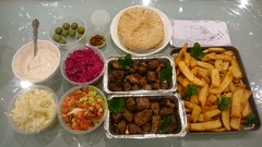 Takeaway dinner for 4 with lamb, chicken, beef shashliks, Israeli salad, cabbage salad, chips from Tavlin AUD60, M.E.B. pita bread, Julia's tahini dip (avlxyz) Tags: fb kebab shashliks chips coleslaw cabbagesalad tahini