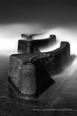 """Sea Defences Rising from the Deep"" (Ray Mcbride Photography) Tags: mono bw seadefences groynes seascape nautical sea"