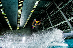 Swimming pool wakeboarding (Artem Ermakov) Tags: light water pool sport dark nikon wake flash extreme wide indoor swimmingpool lightning extreeme extreem splashes strobes paulcbuff