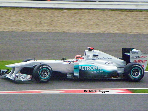 Michael Schumacher in his Mercedes F1 car at the 2011 British Grand Prix in Silverstone