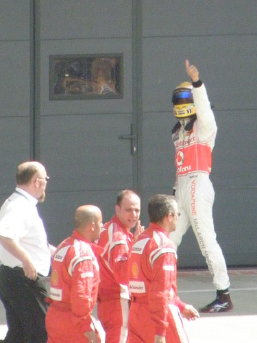 Lewis Hamilton after the 2011 British Grand Prix at Silverstone