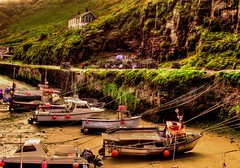 """""""Sitting On The harbour Wall"""" (Galeyo) Tags: sea boats cliffs harbours me2youphotographylevel1"""