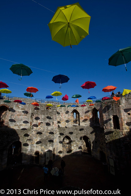 Umbrellas at Clifford's Tower, York