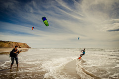 He went that-a-way. Kite Surfing at Compton Bay, Isle of Wight. (s0ulsurfing) Tags: uk light england sunlight kite playing seascape english beach sports sport canon fun island bay coast sand surf action compton extreme shoreline beachlife kitesurfing september adventure coastal shore isleofwight coastline watersports isle wight 2012 kitesurfer comptonbay beachculture s0ulsurfing tomcourt jasonswain