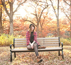 (Alexandra bandow) Tags: hello sunlight fall me alex leaves leather self woods boots tights jacket flannel beanie bandow