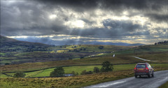 The Lake District... (Hans Kool) Tags: auto road uk england panorama cloud sun lake car clouds landscape groen driving britain district united great wolken kingdom gras hdr engeland wolk rijden rijdend zonnestralen stralen