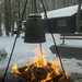 Hartwick Pines coffeepot on campfire
