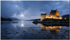 Eilean Donan Castle (Maria-H) Tags: uk reflection castle night scotland unitedkingdom panasonic explore pancake 20mm eileandonan floodlit dornie f17 gh2 dmcgh2
