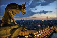 The Gargoyle (Scape) Tags: street blue light sculpture paris france tower seine twilight boulevard tour traffic cathedral gothic eiffel notredame gargoyle hour rue gothique gargouille heure cathedrale bleue