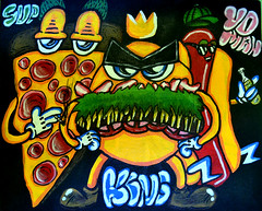 Last Food (Marcos D. Torres) Tags: street new york horse food ny eye art up wall last tooth painting skull graffiti hotdog cool artwork eyes melting montana acrylic hand arte faces yeah drawing fat teeth small phillips knife fast jim run canvas pizza cap 94 skate angry thief skateboard mtn melt worm burguer worms aerosol screaming shape bomb 80 emotions marcos pupil throw pintura sk8 krylon feelings spraycan torres throwup wildstyle molotow bronken ironlak hotdo sgima sabotaz