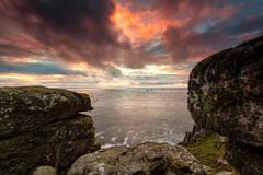 Long Ships Sunset [Explored] (Martin Mattocks (mjm383)) Tags: ocean longexposure sunset seascape clouds rocks cornwall horizon landsend coastline lichen rugged longshipslighthouse canoneos5dmarkii cornwalllandscapes mjm383 martinmattocksphotography