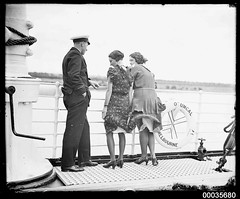 Two women and a ship's officer on the deck of SS ORUNGAL, c 1930 (Australian National Maritime Museum on The Commons) Tags: 1920s vintage women wind sydney passengers deck hood sydneyharbour slips vintageclothing ausn 1920swomensfashion hoodcollection samueljhoodcollection orungal 1930swomensfashion ssorungal theaustralasianunitedsteamnavigationcompany hoodsharbour