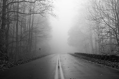 Blue Ridge Parkway in the fog (Penalty Box Photography) Tags: road blackandwhite bw fog nc blueridgeparkway