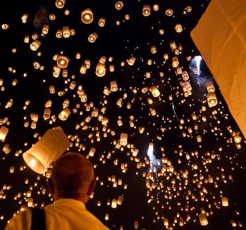 Yi Peng festival in San Sai, Chiang Mai