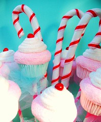 Cupcake & Candy Cane Wands ~ Sweets Bouquet (Pinks & Needles (used to be Gigi & Big Red)) Tags: pink sculpture white holiday cute cake glitter modern cherry cherries aqua handmade girly decoration retro sugar desserts cupcake gift annie faux vase hostess bouquet etsy candycane tulle straws striped eyecandy whimsical sculpted frosted inedible paperstraws treatstreat gigiminor sweetsbouquet pinkandwhitestraws