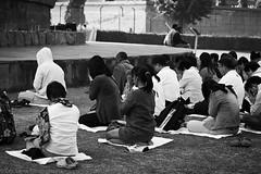 Pilgrims at prayer next to the stupa, Sarnath, Uttar Pradesh, India (December 2012) (Cor Lems) Tags: blackandwhite bw blackwhite december buddha stupa buddhist prayer religion birth buddhism varanasi pilgrim 2012 pradesh sarnath pilgrims benares uttar