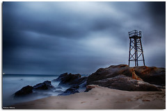 The Haunted (Andrew Kellaway) Tags: ocean seascape tower beach clouds sunrise canon newcastle shark sand long exposure australia andrew redhead software sundance nik hdr toweer 1100d kellway