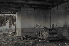 Beyond repair (Jason Knight lostlosangeles) Tags: abandoned car graffiti ruins decay detroit ruin burn urbanexploration graff derelict hdr burned carwreck packardplant urbex jasonknight hellnight lostlosangeles
