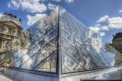 Glass Louvre (Dan Chui (on/off!)) Tags: city travel sky urban holiday paris france art history water glass colors metal museum architecture modern clouds buildings reflections geotagged creativity outdoors nikon triangle day cityscape pyramid bright c