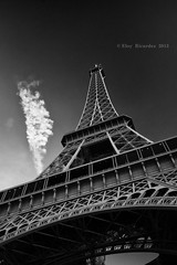 Eiffel tower B&W (Eloy RICARDEZ LUNA) Tags: blackandwhite bw cloud paris france blancoynegro monument photo nikon day noiretblanc eiffeltower arc frana eiffel dia nb bn jour toureiffel torreeiffel capitale nuage francia iledefrance f4 nube d800 flaque arche obelisque 1635 uuid 1635f4 nikon1635f4 priodedelajourne gettyimagesfranceq1