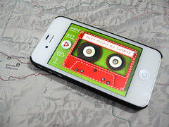 Felt Cassette Tape for TMBG iPhone App (hine) Tags: red green analog geek handmade craft felt retro theymightbegiants tmbg app cassettetape iphone hine