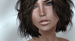 Pause (Kallisto Destiny) Tags: portrait cute beauty digital photoshop hair 3d flickr pretty blueeyes avatar sl pixel freckles dura kallistodestiny bellezaskins