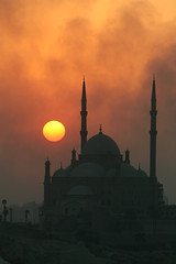 Cairo Mosque (Cousinpat75) Tags: sunset building fire smoke egypt mosque mygearandme mygearandmepremium mygearandmebronze mygearandmesilver mygearandmegold mygearandmeplatinum ringexcellence