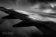 Wing Shot - Boeing 737 (BABAK photography) Tags: nyc travel bw blackwhite aviation united wing babak lax spotting planespotting boeing737 wingshot truebw babakphotography