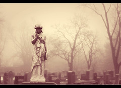 Reverie (Liddy5) Tags: trees sculpture mist cemetery statue fog stone solitude mood memory