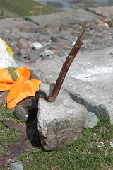The sky-burial site (10b travelling) Tags: china temple asia buddhist buddhism tibet monastery burial blade vulture mallet lhasa tool templo tempel 2010 ganden undertaker yellowhat skyburial gelugpa carstentenbrink iptcbasic